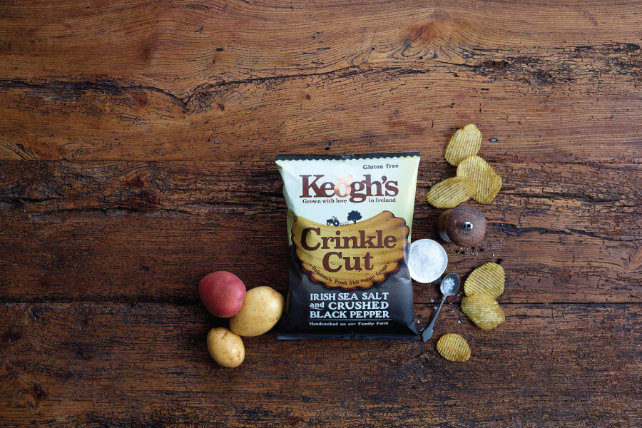 keoghs crisps irish sea salt and rushed black pepper crinkle cut